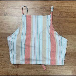 Roxy Stripe Crop Bikini Swim Top